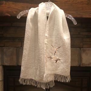 Accessories - NWT Chinese Silk Scarf • White • 100% Silk